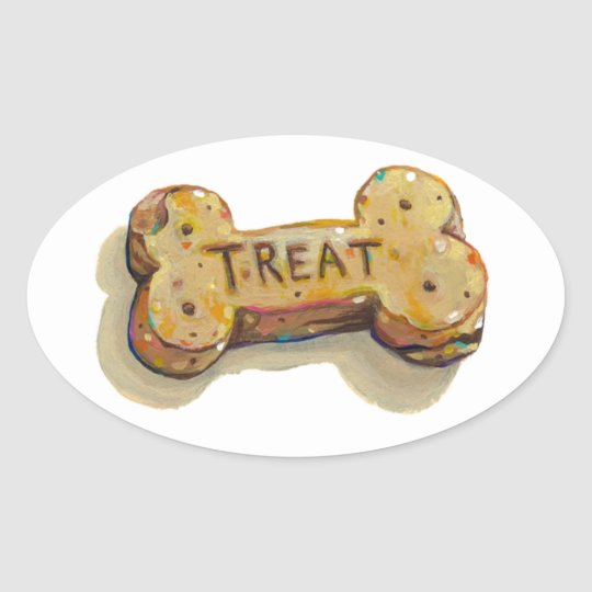 Treat for dog lovers fun art sitters trainers pets oval sticker
