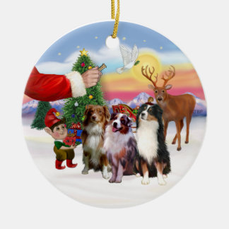 Treat for Three Australian Shepherds Ceramic Ornament