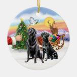 Treat for two Black Labradors Christmas Tree Ornament