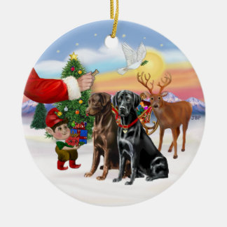 Treat for Two Labradors (Chocolate + Black) Ceramic Ornament