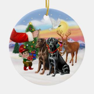 Treat for Two Labradors (Chocolate + Black) Ceramic Ornament