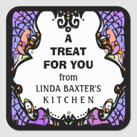 Treat for You Purple White Black Halloween Custom Square Sticker