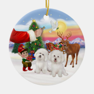 Treat forTwo Bichon Frise Ceramic Ornament
