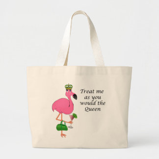 Treat Me as You Would the Queen Flamingo Jumbo Tote Bag