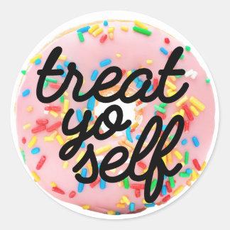 Treat yo self classic round sticker