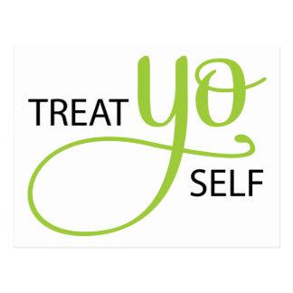 Treat Yo Self Lime Postcard