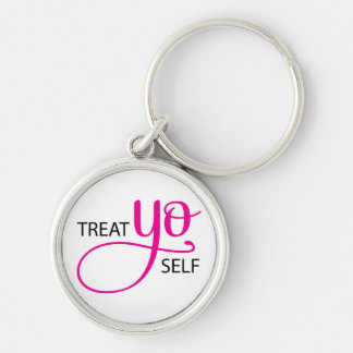 Treat Yo Self Pink Keychain