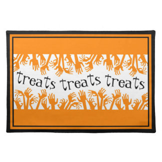 Treats and Zombie Hands Halloween Placemat