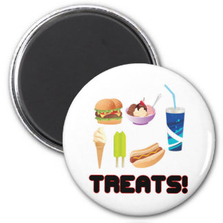 Treats Red 2 Inch Round Magnet