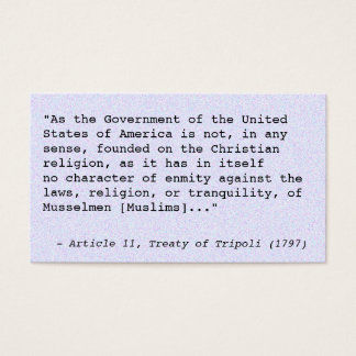 Treaty of Tripoli trivia cards
