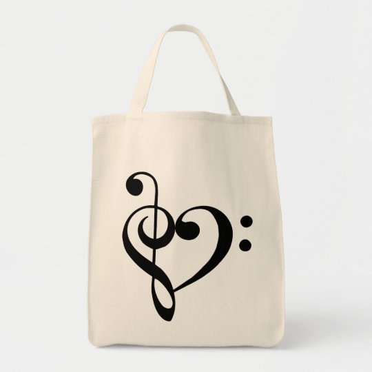 Treble and Bass Clefs Heart (black) Bag