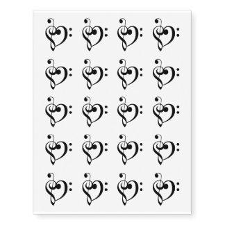 Treble Bass Clef Heart Temporary Tattoos