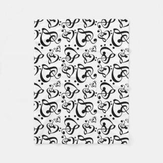 Treble Bass Clef Hearts Music Notes Pattern Fleece Blanket