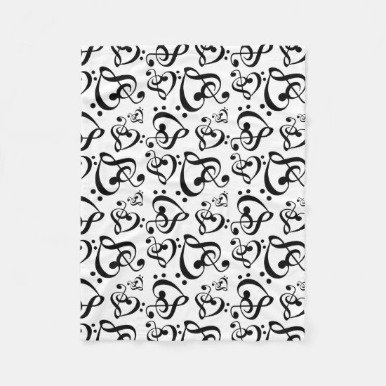 Treble Bass Clef Hearts Music Notes Pattern Fleece Blanket