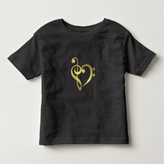 Treble + bass clef music heart love toddler shirt