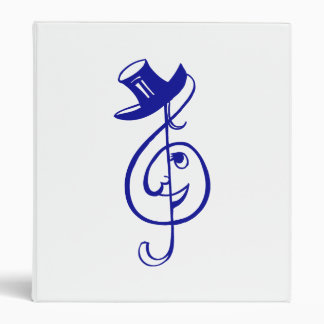 treble blue clef face top hat music design.png 3 ring binder