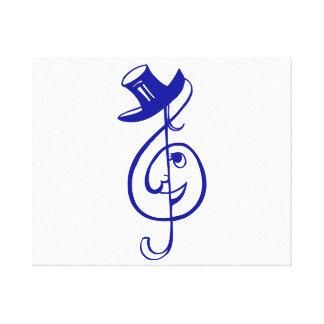 treble blue clef face top hat music design.png canvas print