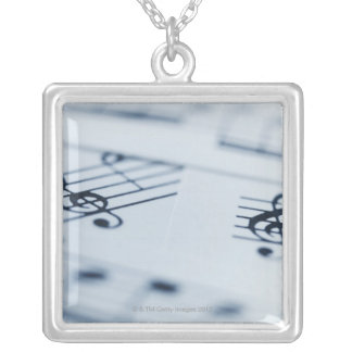 Treble Clef 2 Silver Plated Necklace