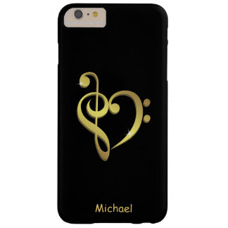 Treble clef and bass clef music heart love barely there iPhone 6 plus case