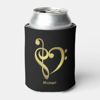 Treble clef and bass clef music heart love can cooler