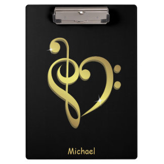 Treble clef and bass clef music heart love clipboard