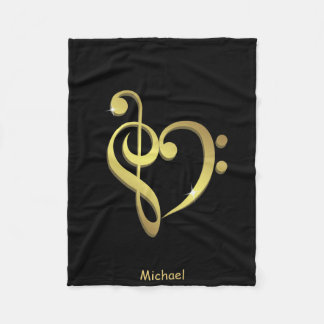 Treble clef and bass clef music heart love fleece blanket