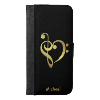 Treble clef and bass clef music heart love iPhone 6/6s plus wallet case