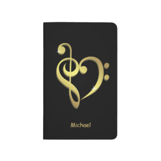 Treble clef and bass clef music heart love journal