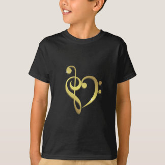 Treble clef and bass clef music heart love kids T-Shirt