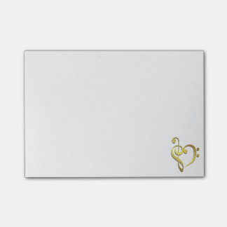 Treble clef and bass clef music heart love post-it notes
