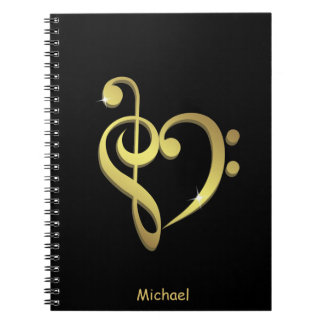 Treble clef and bass clef music heart love spiral notebook