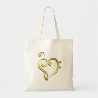 Treble clef and bass clef music heart love tote bag