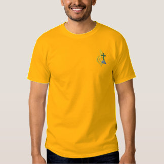 Treble Clef and Cross Embroidered T-Shirt