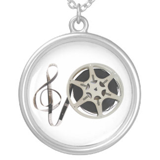 Treble Clef and Film Reel Representing Film Music Round Pendant Necklace