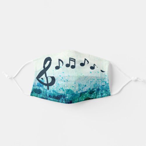 Treble Clef and Music Notes Floral Adult Cloth Face Mask