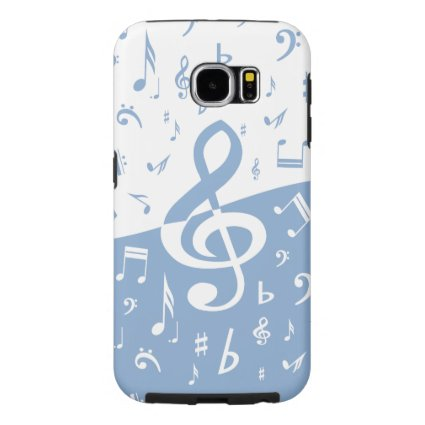 Treble Clef and Music Notes in Sky Blue and White Samsung Galaxy S6 Cases