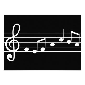 treble clef and notes sheet music custom invite