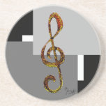 Treble Clef Art - Hand Carved and Digitized Drink Coasters