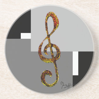 Treble Clef Art - Hand Carved and Digitized Drink Coaster