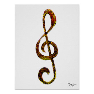 Treble Clef Art - Hand Carved and Digitized Poster