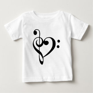 Treble Clef Base Clef Heart Baby T-Shirt