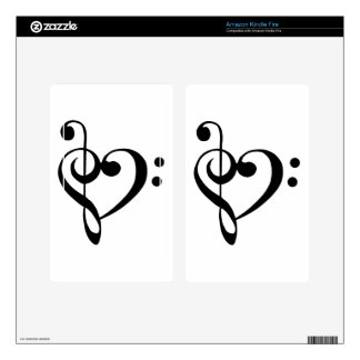 Treble Clef Base Clef Heart Kindle Fire Skin
