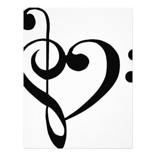 Treble Clef Base Clef Heart Letterhead Template
