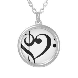 Treble Clef Base Clef Heart Round Pendant Necklace
