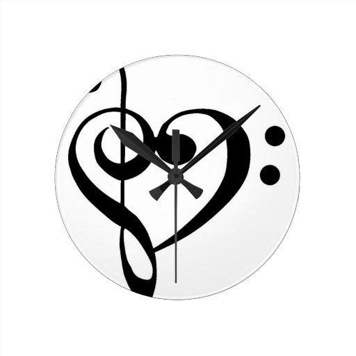 Treble Clef Base Clef Heart Round Wall Clock