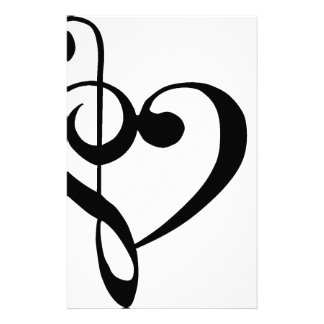 Treble Clef Base Clef Heart Stationery