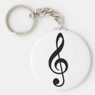 Treble Clef Basic Round Button Keychain
