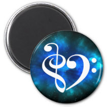 Treble Clef Bass Clef Heart Blue Green Nebula Magnet