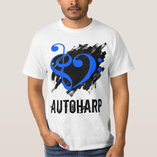 Treble Clef Bass Clef Royal Blue Heart over Grunge Brush Strokes Autoharp T-Shirt