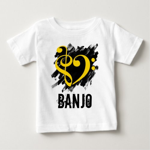 Treble Clef Bass Clef Yellow Heart over Grunge Brush Strokes Banjo Baby T-Shirt